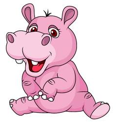 Cute hippo cartoon sitting vector