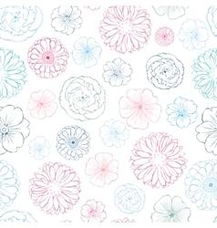 Pink blue lineart flowers heads seamless vector