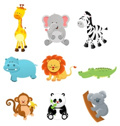 Collection of safari animals vector