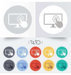 Touch screen monitor sign icon hand pointer vector