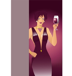 Red-wine-girl vector