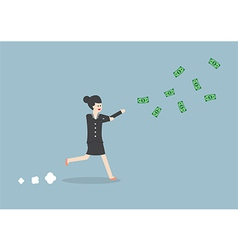 Businesswoman chasing falling dollar bills vector