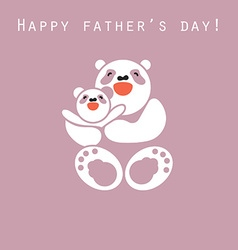 Sticker card with happy father and child panda vector