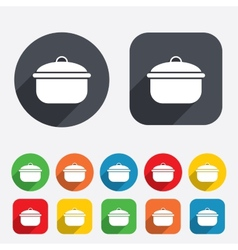 Cooking pan sign icon boil or stew food symbol vector