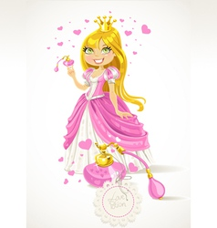 Pretty princess with a love potion vector