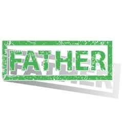 Green outlined father stamp vector