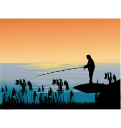 Fishing sunset vector