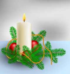 Christmas decoration with candle and pine branches vector