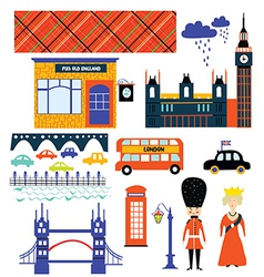 London landmarks and symbol set funny design vector