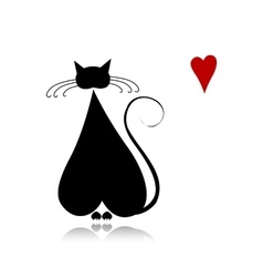 Cat in love black silhouette for your design vector