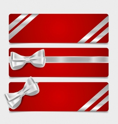Cards with gift bows and ribbons vector
