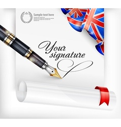 English blank and pen vector