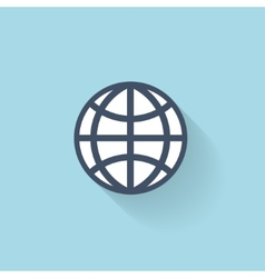 Flat web icon global network vector