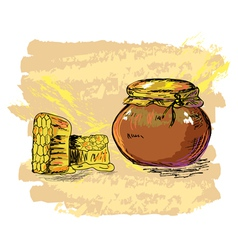 Honey jar and honeycombs vector