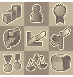 Monochrome business icons vector