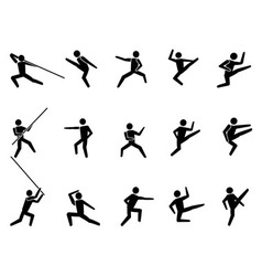 Martial arts symbol people icons vector