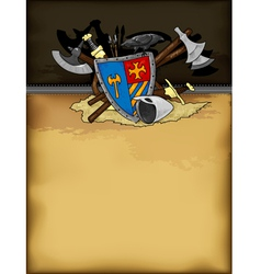 Shield medieval hand drawing vector