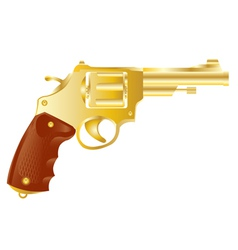 Revolver from gilded metal vector