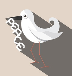 Dove bird with paper peace title vector