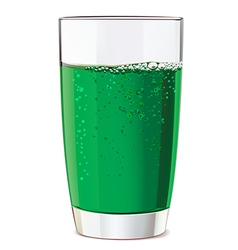 Glass of green juice vector