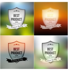 Best product shields set isolated on blurred vector