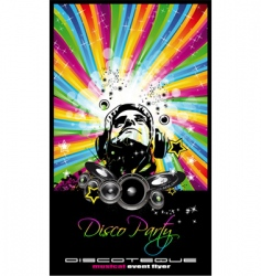 Music disco flyer vector