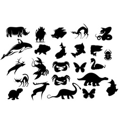 Set of cartoon animal silhouettes isolated on whit vector