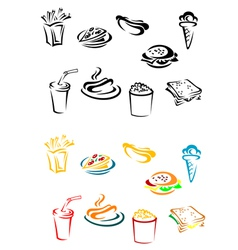 Fast food elements vector