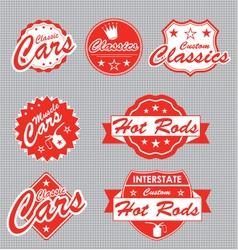 Classic cars labels vector