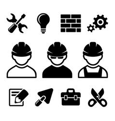 Industrial worker icons set vector