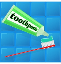 Spread toothpaste on the brush vector