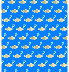Seamless sea pattern yellow fish and light blue vector