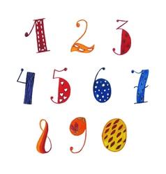 Watercolor numbers vector