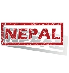 Nepal outlined stamp vector