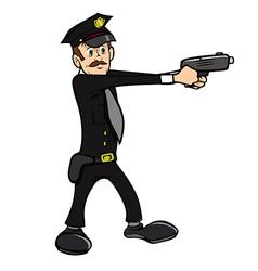 Policeman shooting vector