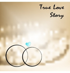 True love with two weddings rings vector