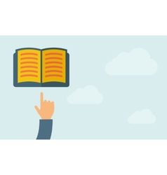 Hand pointing to a book vector