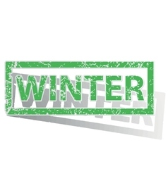Green outlined winter stamp vector
