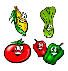 Corn leak tomato peppers vector