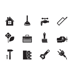 Silhouette construction and do it yourself icons vector