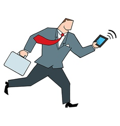 Businessman running with briefcase and tablet vector