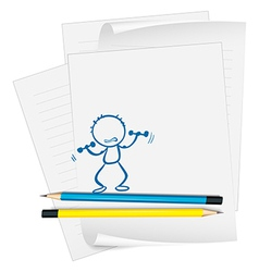 A paper with a sketch of a person exercising vector