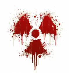 Radioactive symbol blood splatter vector