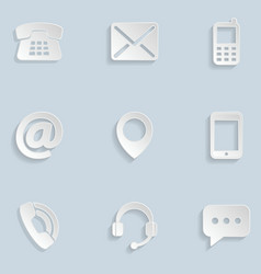 Contact us paper icons vector