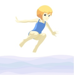 Girl jumping in ater vector