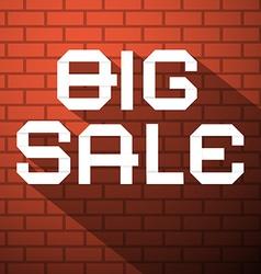 Big sale title on dark red bricks background vector