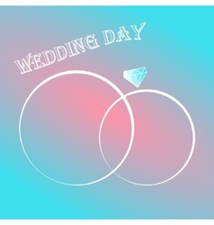Wedding day invitation card with two rings vector