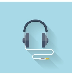 Flat web icon headphones vector