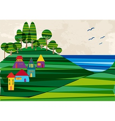 Contemporary seashore town vector