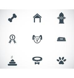 Black dog icons set vector